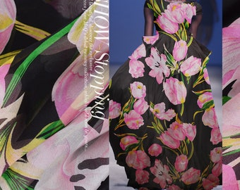 Pink Large Floral Print Black 100% Pure Silk Chiffon Fabric Width 53 Intch