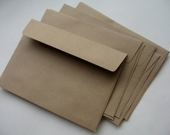 25 Brown Kraft Paper Envelopes (size 5 1/4 X 7 1/4  inches or 133 X 184 mm.)