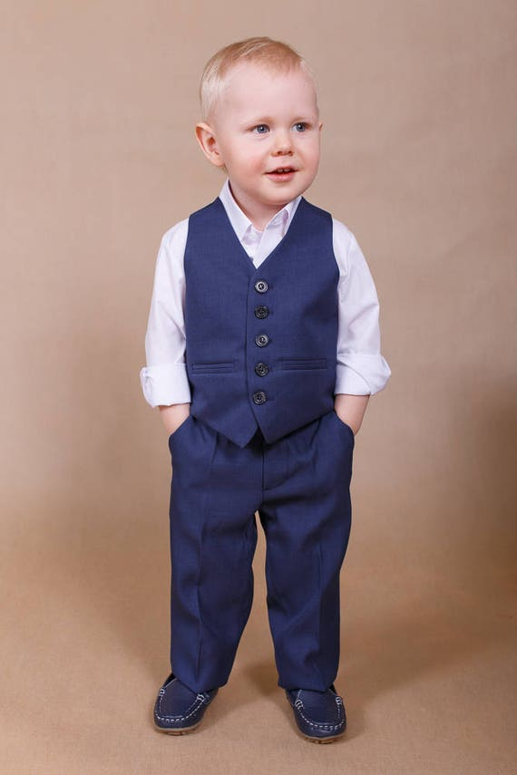 Ring bearer outfit Wedding boy suit Navy boy suit Baby boy