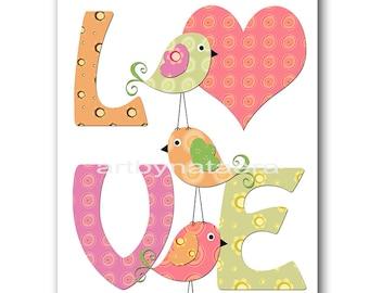 Bird Nursery INSTANT DOWNLOAD Art Digital Baby Room Digital Art Baby Girl Nursery Decor Download Digital Download Art 8x10 11X14 rose green