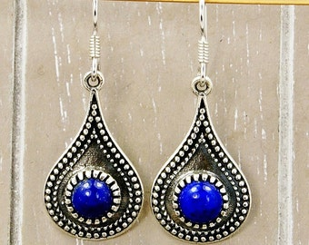 Lapis Lazuli Earrings & Sterling Silver Dangle Earrings AE948 The Silver Plaza