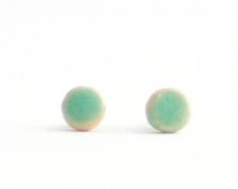 Mini Stud Earrings. Turquoise Satin Glaze Clay Earrings. Titanium posts. Nautical Gift for her. Small Dainty Jewelry. Gift under 20