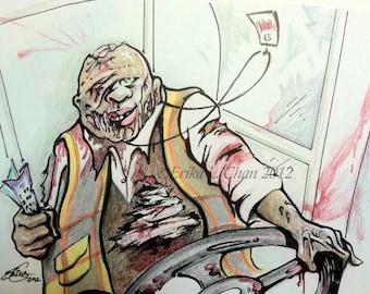 Framed San Francisco MUNI Zombie Driver ORIGINAL Illustration (7x5 inch)