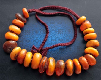 Moroccan Berber Faux Amber Copal Imitation ethnic Tribal Beads - lot of 22 beads different sizes