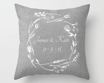 Personalized Grey Wreath Wedding Date Throw Pillow, custom date pillow, wedding date pillow, wedding throw pillow, couple pillow