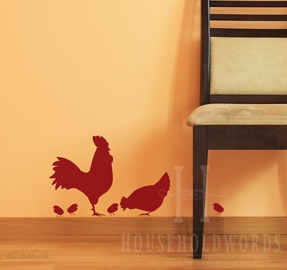 Rooster Decal Farmhouse Kitchen Wall Decor Chicken Vinyl Decal