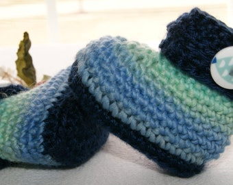 Blue Variegated Baby Booties - Size 3 to 6 Month - Baby Boy Accessory - Clothing for Infant - Crochet Cuff Style Booties for Baby Boy