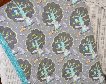 Les Amis Modern Patchwork Baby Quilt Blanket in Aqua Charcoal Gray Teal Forest Trees Owl Deer Fox Woodland Scenery Crib Bedding CUSTOM ORDER