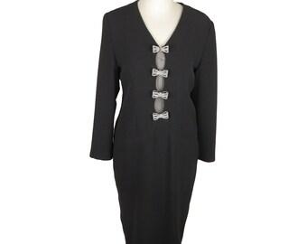 Authentic GAI MATTIOLO COUTURE Vintage Black Long Sleeve Dress Size 44