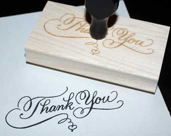 Thank You Rubber Stamp, Custom Calligraphy, Personalized, 4 sizes, wedding thank you, favor tag stamp