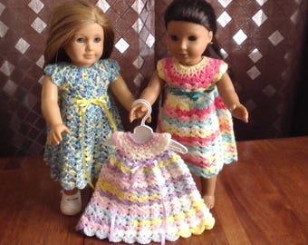"""New Lower Price - Handmade Crochet Dresses for 18"""" or 15"""" Dolls"""