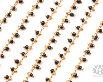 C300-BL// Gold Plated Black Beads Chain, 50cm