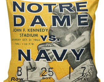 Notre Dame, Football, Pillow Cover - 100% cotton front, cotton or burlap back, Notre Dame vs. Navy, Man Cave Boys Room Decor Stub24 #S20080