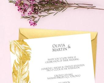 Invitation kits etsy ca wedding invitation printable gold feathers wedding invitation minimal gold wedding invitation save the date card personalized stopboris Choice Image