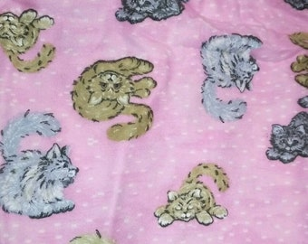 Pink FLANNEL Cat Fabric