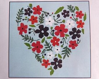 Pretty Floral Heart - Cross Stitch Chart by French Designer uses 6 colours of DMC thread.  Heart shape cross stitch.  Flowers and Hearts.