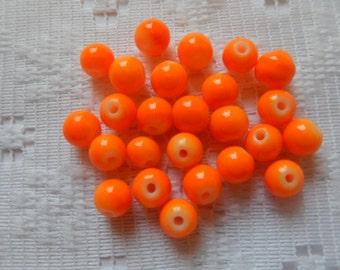 25  Bright Neon Orange Opaque Round Ball Glass Beads  6mm