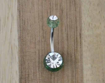 Green Glitter Balls with Clear Gem Acrylic Belly Button Ring Navel Body Piercing Jewelry