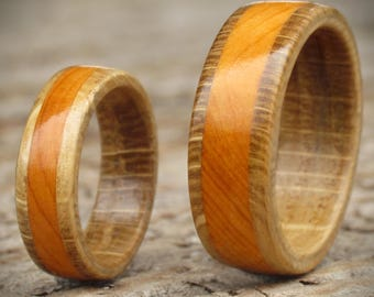 Wooden Wedding Rings from Oak & Yew, Handfasting Ceremony, Commitment Ring, Promise Ring, 5th Anniversary, Wood Engagement Rings