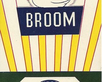 Vintage N.R.O.G. Mity Fine Original Lithograph Broom Label, 1935