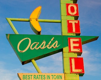 Oasis Motel | Mid Century Modern Decor | Old Neon Sign | Retro Home Decor | Googie Motel Sign | Road Trip | Fine Art Photography