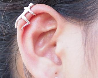 Climbing Man Ear cuff, Human ear cuff, Non Pierced Earring