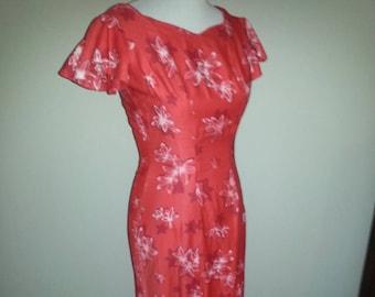 Vintage Red Hawaiian Dress (Small)