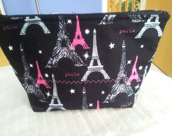 Cosmetic Bag/Zipper Pouch/Makeup Carrier/Travel Carrier/ Paris Eiffel Tower Print/ Boxed Zipper Pouch