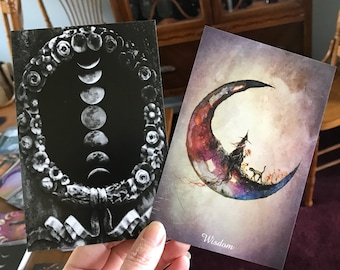 Sample Sale ONE Art Print Card 4x6 from my Original Painting Moon Victorian Cat Witch Halloween Gothic Folk Terri Foss Printed Front & Back
