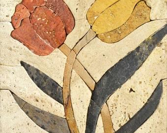 Tangled Flowers Stone Mosaic