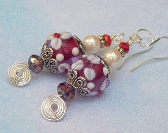 Long and Festive, Spiral, Pearl and Murano Glass, Sterling Silver Earrings