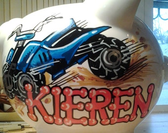 Personalized Piggy Bank ATV Design Handpainted Bank Bike Fund Bank