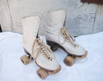 Vintage Leather Roller Skates, white leather roller skates, womens size 6, Childs size 4, wood wheels