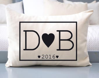 Personalized pillow, Cotton Anniversary, 2nd anniversary, hearts pillow, valentines gift, romantic gift Couples pillow,  anniversary pillow,