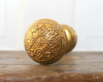 Antique Door Knob Set Art Nouveau Style Cast Bronze