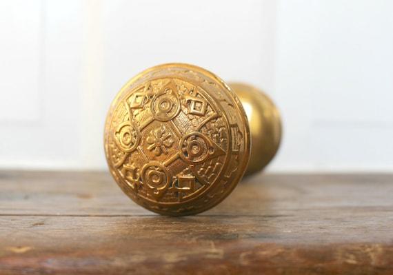 Antique Brass Door Knob Set Arts and Crafts Style Salvaged