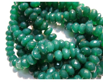 Green Onyx Rondelles, Faceted Rondelle Beads, 8mm Beads - 9 Inch Full Strand - 38 Pieces Approx