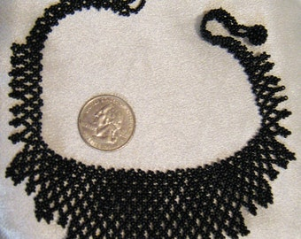 Vintage black beaded necklace, 13 1/2 inch necklace, black seed bead necklace, Cosplay necklace