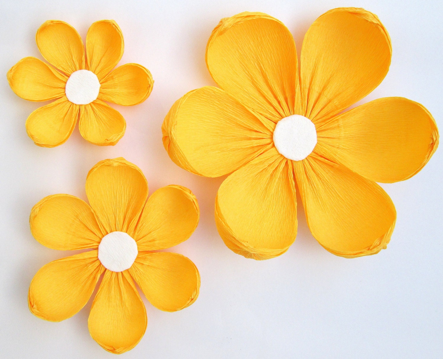 12 Paper Flowers / Arch Flowers/ Wedding Decoration/ Yellow