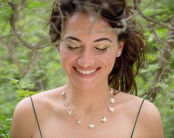 Collar plata, collar corto mariposas, collar boho mariposas, gargantilla romantica plata