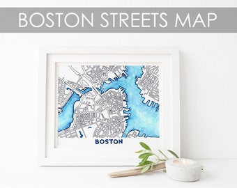 Boston Watercolor and Ink Streets Map / Massachusetts Wall Art