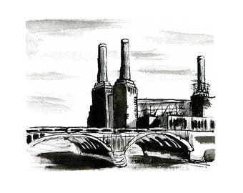 Battersea Power Station / London Art Print / Illustration, Wall decor, Signed art, Wall Art, Poster, Painting, South London, London Skyline