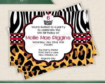 Red and White Polka Dots Leopard and Zebra Birthday Personalized Printable Digital DIY Invite or Card ( Any Wording or Text) Add a Photo