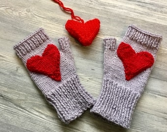 Red heart fingerless mittens with free knitted red heart ornament