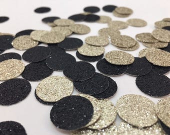 Black and Gold Confetti - Table Confetti - Circle Confetti - Confetti - Glitter - Anniversary - Birthday - Black - Champagne - Bachlorette