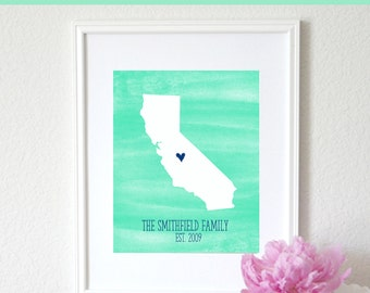 Personalized Watercolor Map Any State or Country Custom Map Art Print 8x10. Anniversary Gift. Custom Made Map. Personalized Keepsake Map.