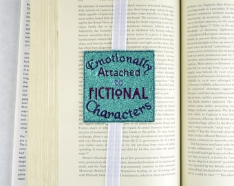 Emotionally attached to Fictional Characters bookmark ITH machine embroidery design 4x4