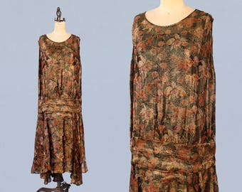 RARE 1920s Dress / 20s Floral Metallic LAMÉ Dress /INCREDIBLE Wearable Work of Art ! / Shimmering 20s Gown / L