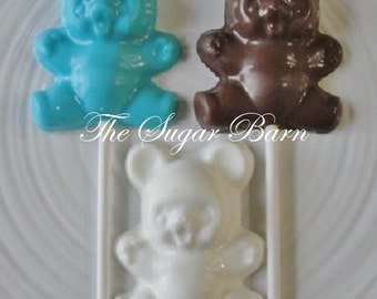 BEAR CHOCOLATE LOLLIPOPS*12 Count*Baby Shower Favor*Slumber Party*Teddy Bear Favor*Birthday Party*Baby Girl*Baby Boy*Get Well Gift*New Baby