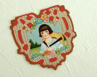 Vintage 1920's Valentine Card Heart Shaped Embossed Whitney Made Valentines Card with Little Girl with Bobbed Hair and Straw Hat